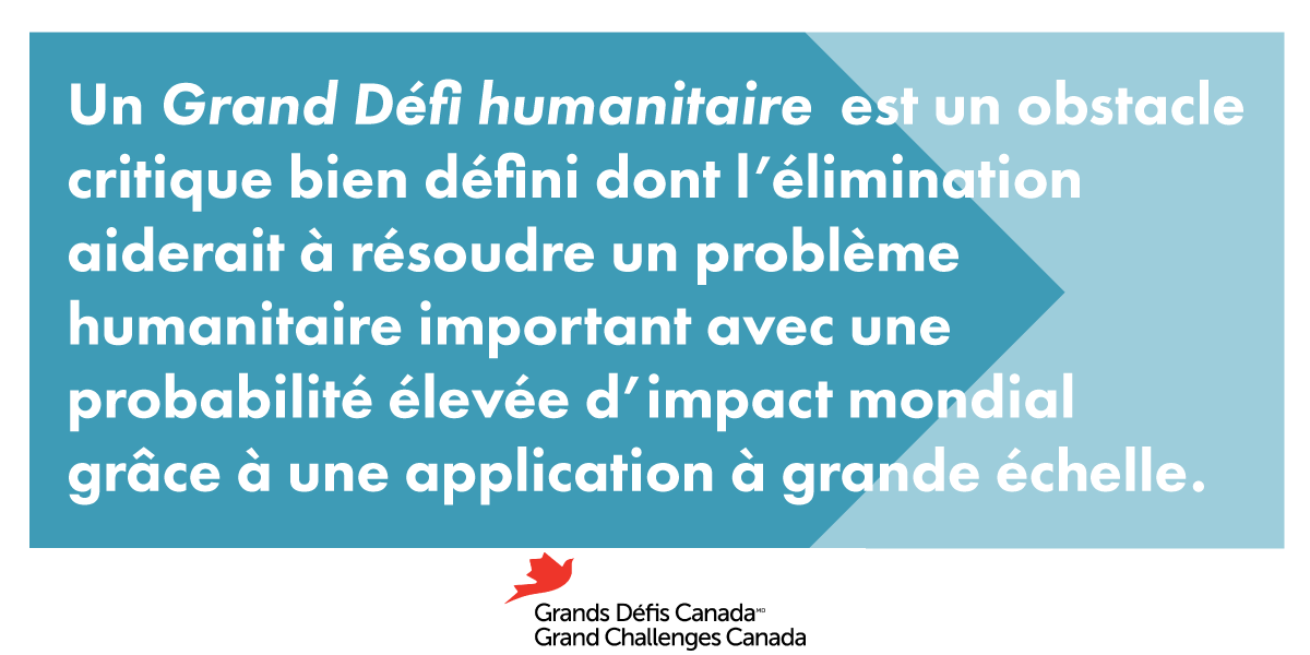 Un Grand Défi humanitaire est un obstacle critique bien défini dont l'élimination aiderait à résoudre un problème humanitaire important avec une probabilité élevée d'impact mondial grâce à une application à grande échelle.
