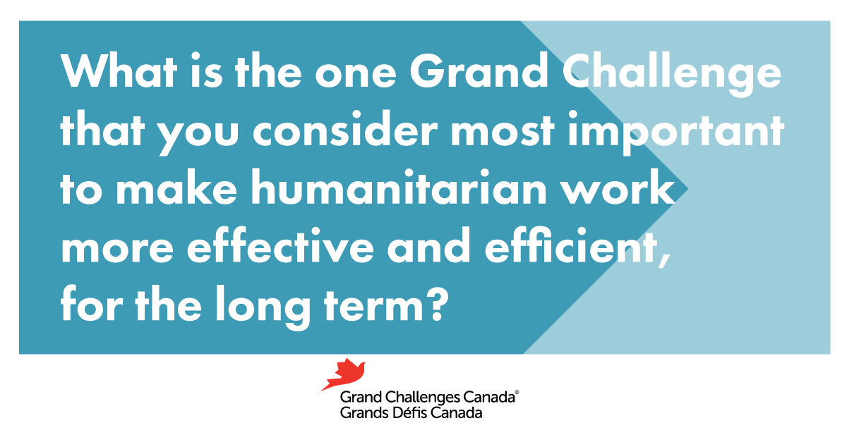 What is the one Grand Challenge that you consider most important to make humanitarian work more effective and efficient, for the long term?