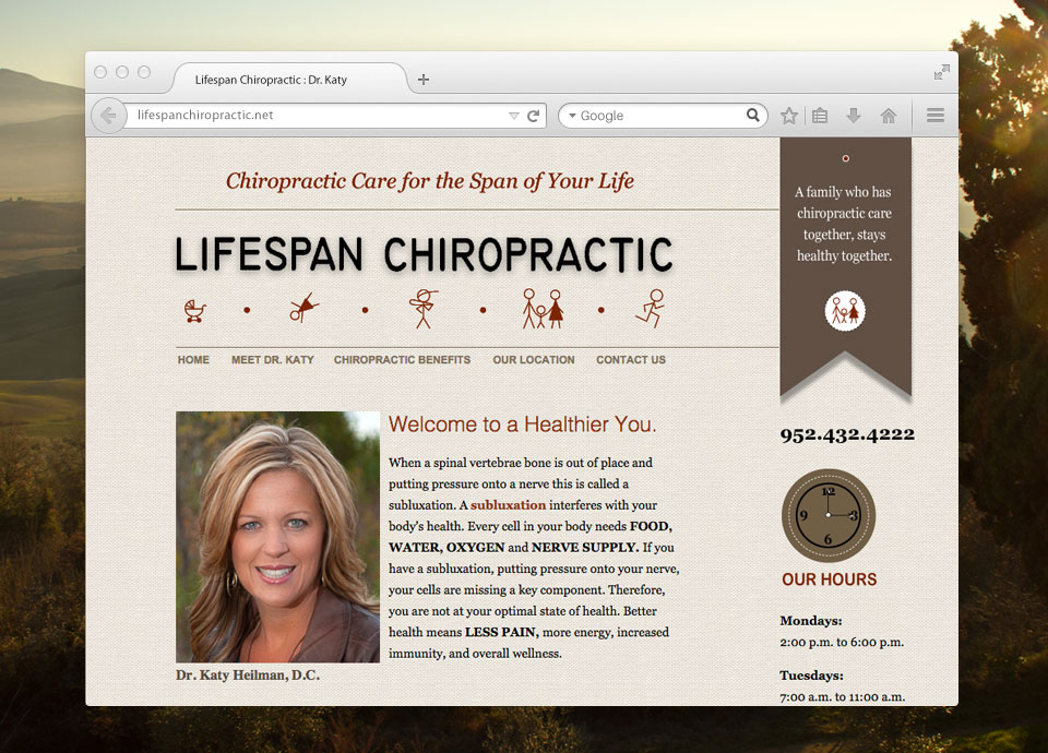 Lifespan Chiropractic Clinic website design