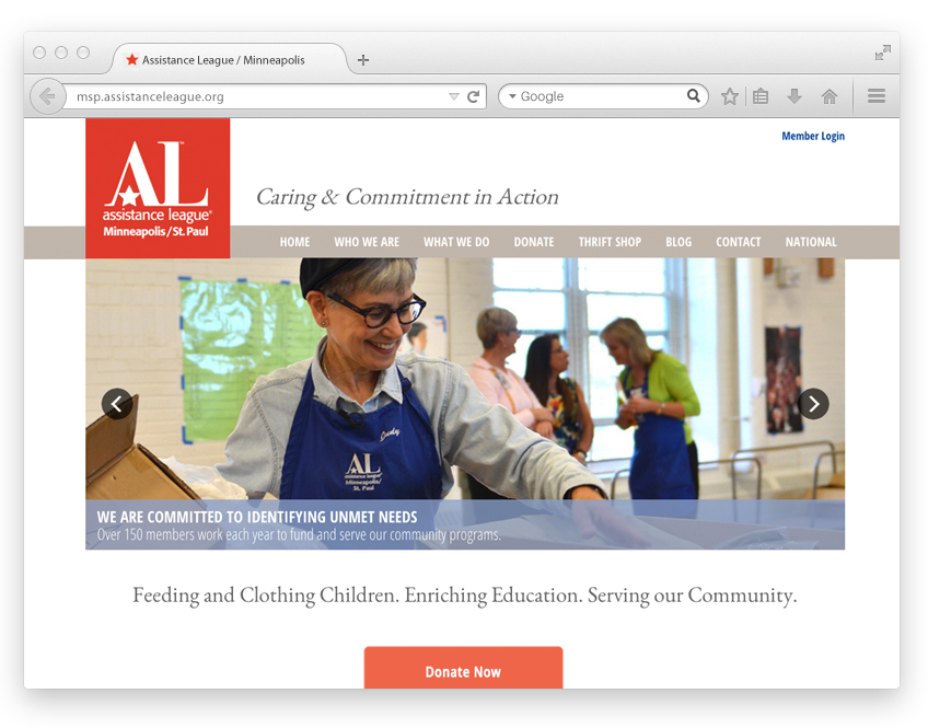 Assistance League chapter website design view