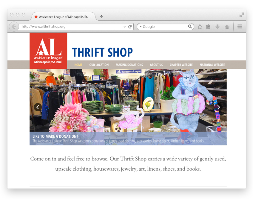 Assistance League Thrift Shop website design
