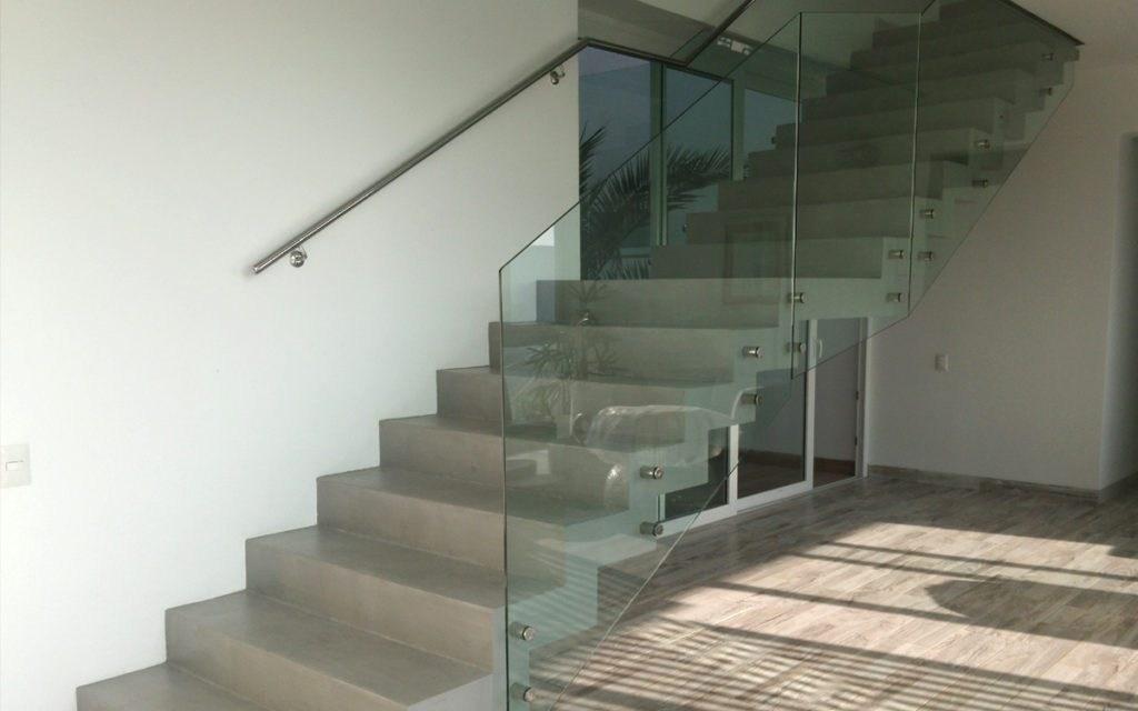 Micro Concrete Stairs And Micro Cement Staircases   Concrete And Wood Stairs   Concrete Wall   Separated   Concrete Building Interior   Glass Balustrade   White Riser Wood