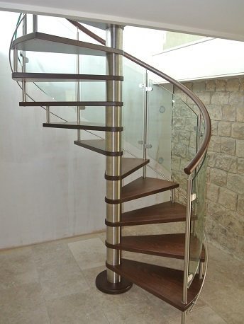 Curved Glass Stairs Modern Helical Crystal Staircases | Round Stairs Railing Design | Metal | Silver | Loft | Stainless Steel | Brown