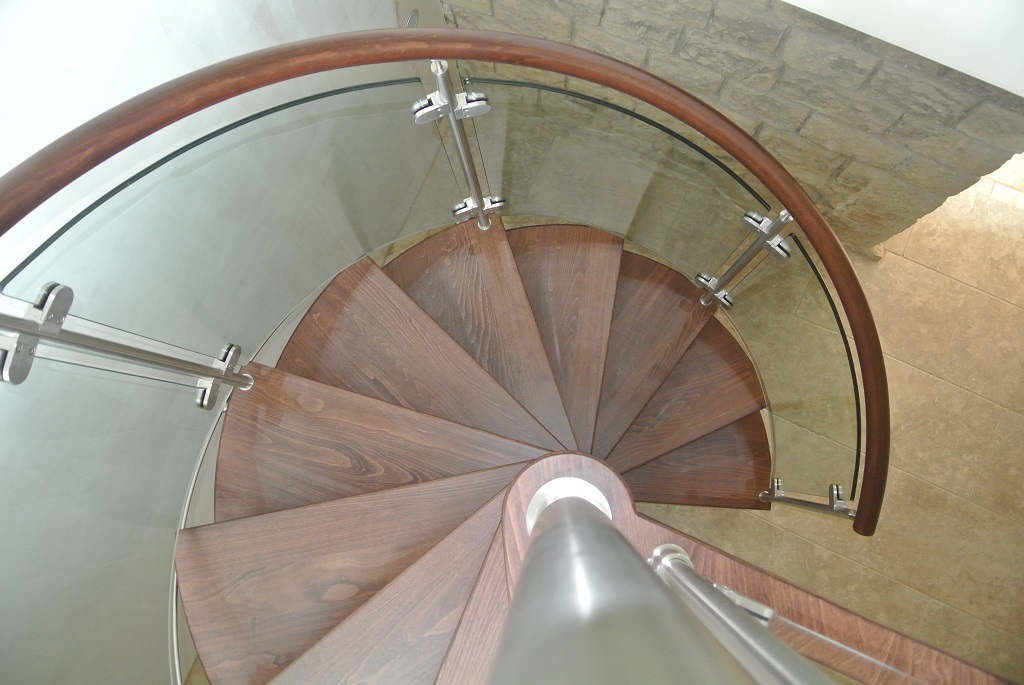 Curved Glass Stairs Modern Helical Crystal Staircases | Curved Glass Staircase Railing | Half Circle | Aluminium | Tuffen | Interior Modern Glass | Stone Glass