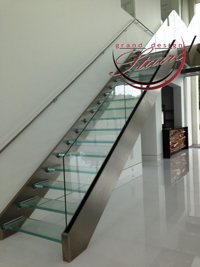 Glass Stairs Glass Steps Structural Glass Railings | Stainless Steel Glass Staircase | Transparent | Handle | Powder Coated Steel | Open Tread | Black Stained