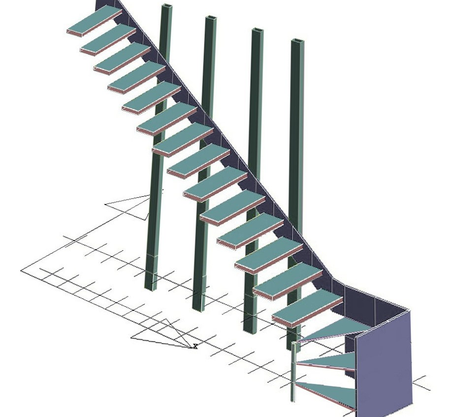 How Do Floating Staircases Work Modern Cantilever Stairs Systems   Cantilever Staircase Structural Design   Steel   Structure   Metal   Exposed Brick Wall   Wood