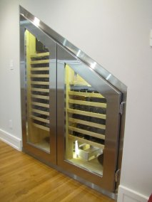 Stainless Steel Under Staircase Wine Cabinet
