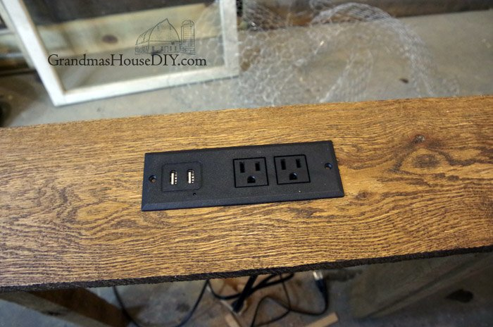 behind the sofa table how to reupholster a leather sectional console charging station for our diy build project wood working your living room and