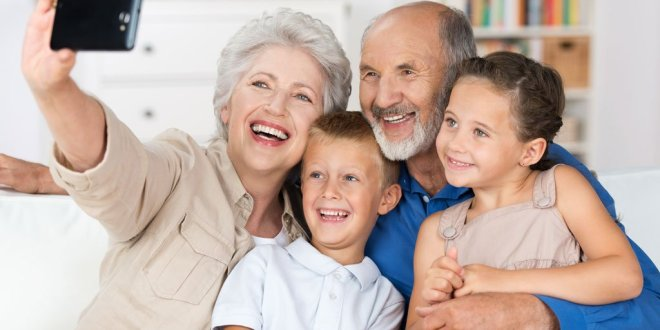 Grandparents and Grandchildren smartphone selfie