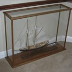 model display case with ship