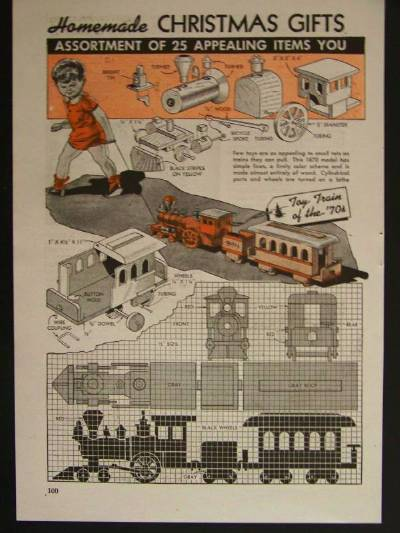 Wooden Toy Train Steam Locomotive 1943 How To build PLANS