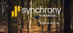 Synchrony financial logo over image of cyclist riding singletrack