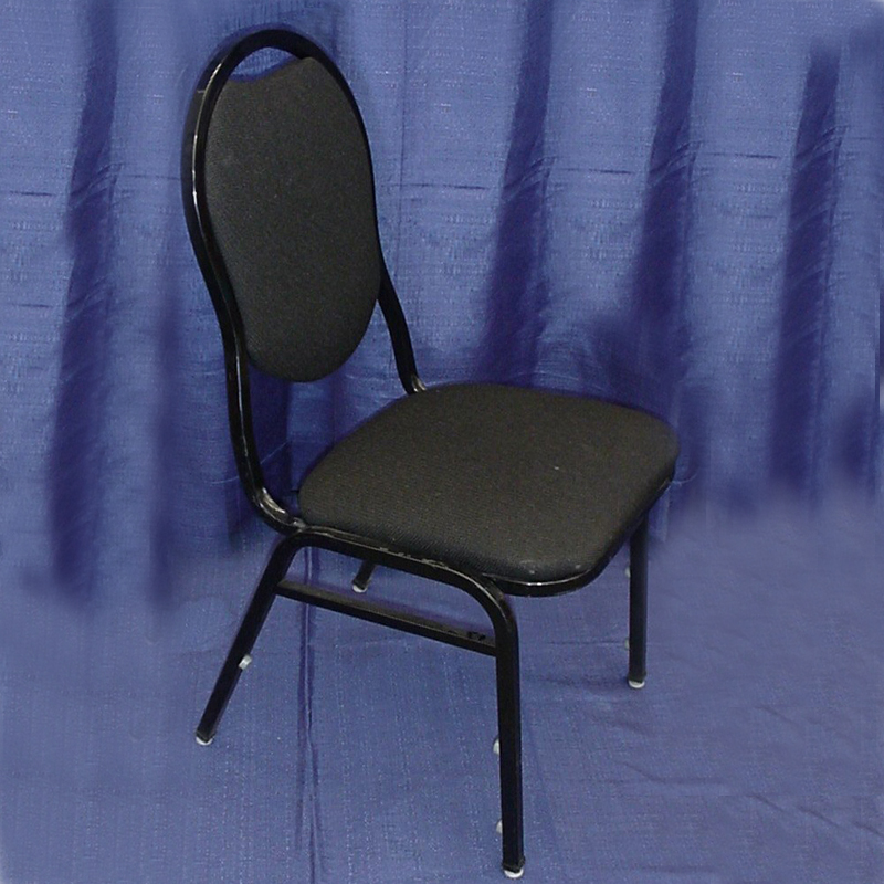 Black Padded Stacking Chair Grand Rental Station