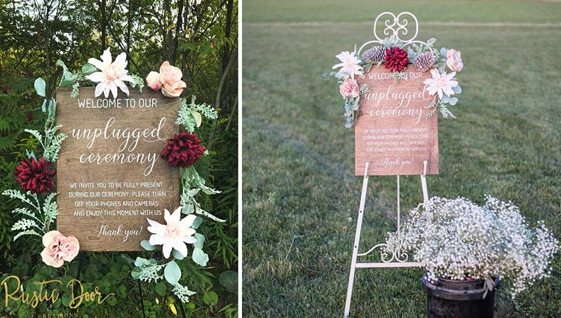 rustic wood unplugged signs