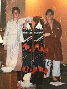 Mark (left) with his pride and joy—a Burton Performer 150. Christmas 1985