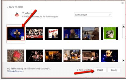 Video search results; selecting the video for embedding.