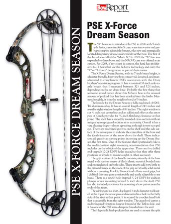 PSE X Force Dream Season Bow Report