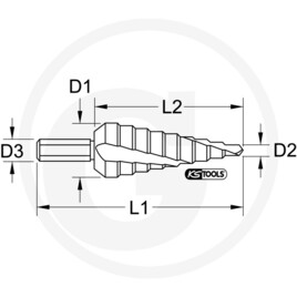 KS Tools HSS TIN stepped hole cutter, Ø 4-12mm, 9 steps