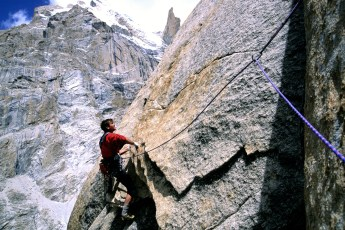 Alex Lowe climbing the Great Trango Tower, Pakistan