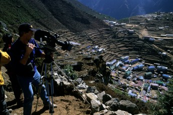 Michael Graber capturing scenes for the National Geographic production Everest: 50 Years on the Mountain