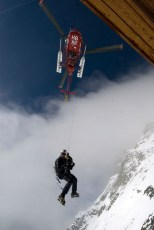 Jim Surette lowered onto the face of the Matterhorn to film Chris Davenport and Stian Hagen for Matchstick Productions. Photo: Asmus Norreslet