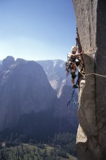Roxanna Brock McDade high on the P.O. Wall, El Capitan