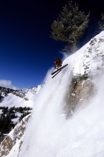 Jason Anthony catching some air, Jackson Hole backcountry, Wyoming