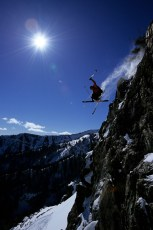 Jason Anthony catching more air, Jackson Hole backcountry, Wyoming