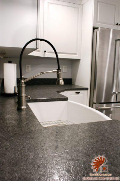 White Waves Leathered Island  Steel Gray Leathered Countertop  Granite  Kitchen Studio
