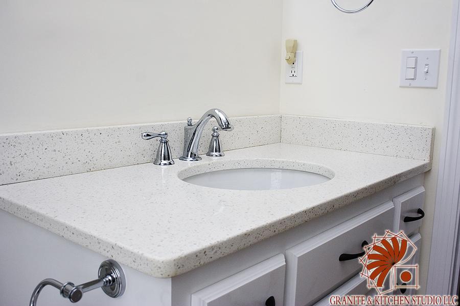 Iced White Quartz  Granite  Kitchen Studio