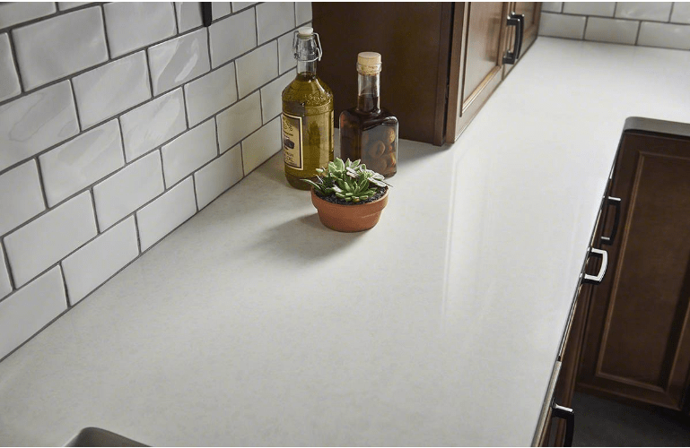 commercial kitchen sink lighting over island calico white | granite countertops seattle