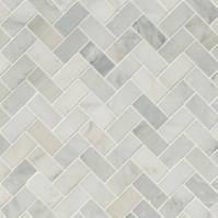 Arabescato Carrara Herringbone Pattern Honed In A Mesh ...