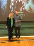 Principal Shauna Jensen with Author Brandon Mull