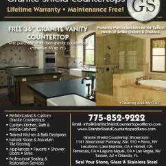 Prefabricated Kitchen Cabinets Aide Mixer Attachments Granite Shield Countertops - Reno Store Ad