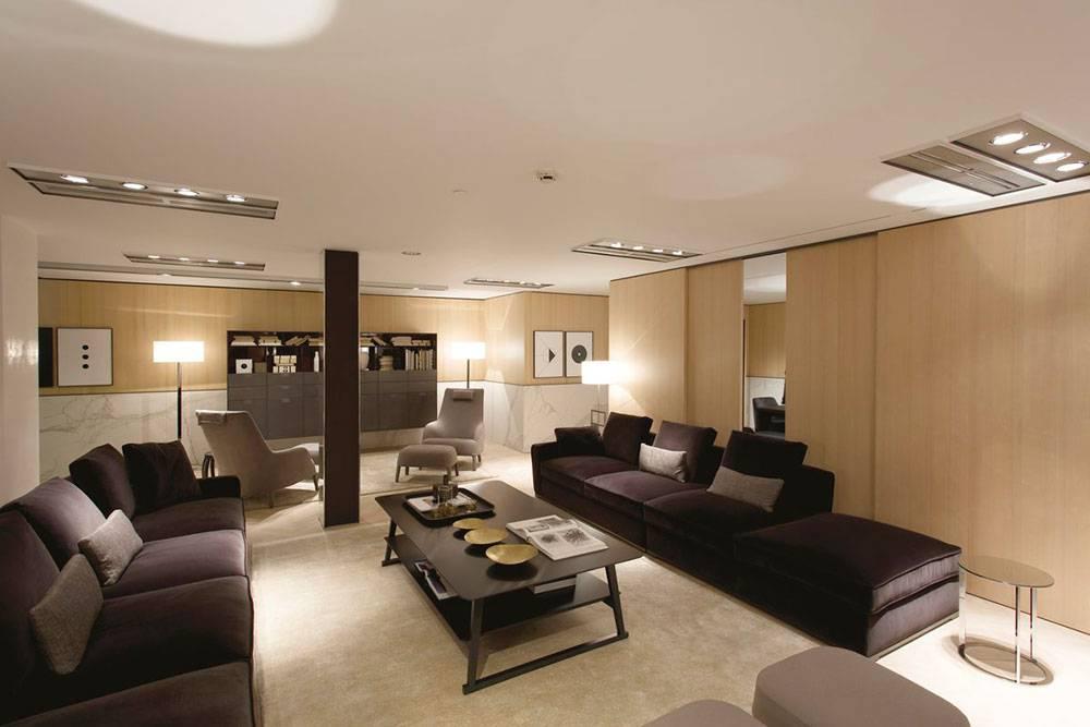 tile floors in kitchen flush mount ceiling lights showroom b&b italia store, italy - fiandre
