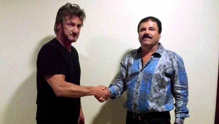 Actor estadounidense Sean Penn, saluda al narcotraficante Chapo Guzmán