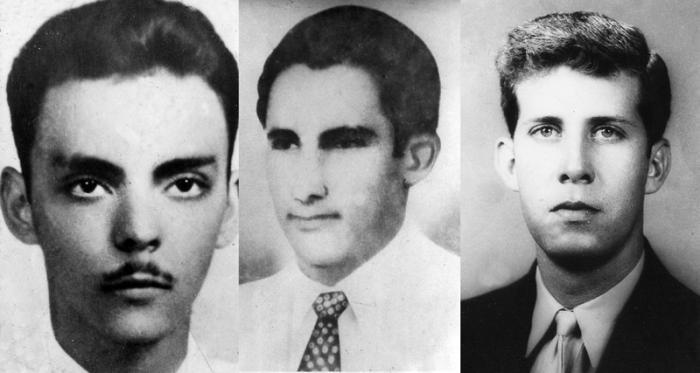 Josue País (izquierda), Floro Bistel (centro) y Salvador Pascual (derecha), asesinados en Santiago de Cuba el 30 de junio de 1957.