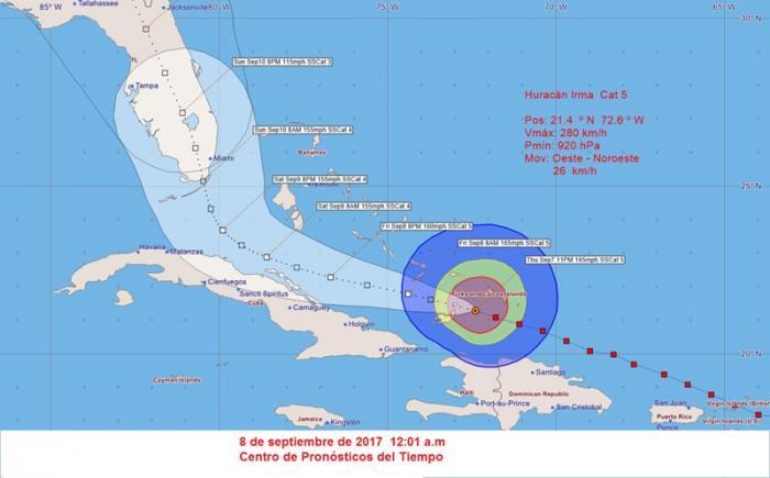 Cono de trayectoria del huracán Irma en la madrugada del viernes 8 de septiembre