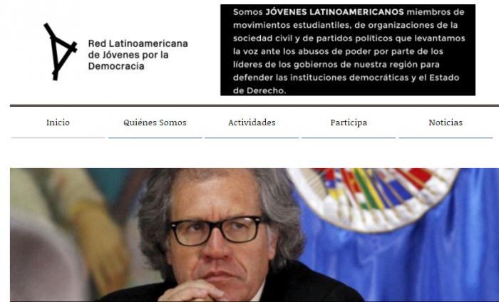 El sitio web oficial de la mal llamada Red Latinoamericana de Jóvenes por la Democracia no tiene un solo pronunciamiento sobre los escándalos de corrupción en Perú. FOTO: Captura de Pantalla