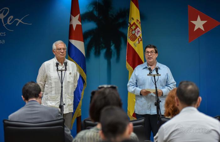 Declaraciones a la Prensa de los Ministros Bruno Rodriguez Parrilla, ministro de Relaciones Exteriores y Josep Borrell, ministro de Relaciones Exteriores, Union Europea y Cooperación del Reino de España