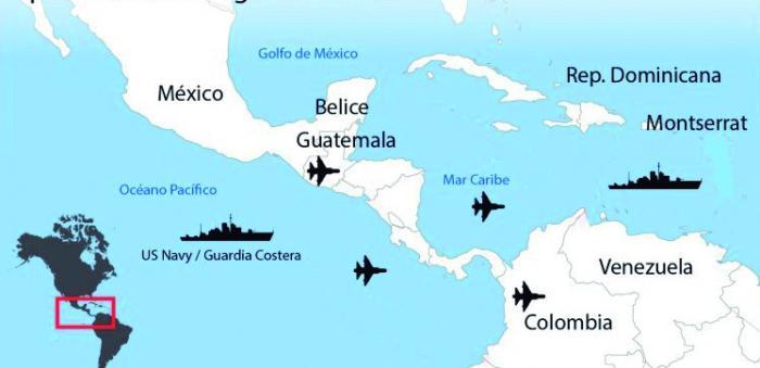 Despliegue de las fuerzas de Estados Unidos en el mar Caribe como parte de su supuesta Operación  antinarcóticos.
