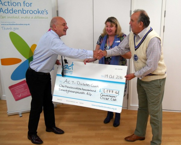 Dr Mike More & Nicky Newton receive GCR's cheque from Steve Wilson