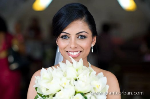 Bride with her wedding bouquet at Lady Of Fatima Brickfields