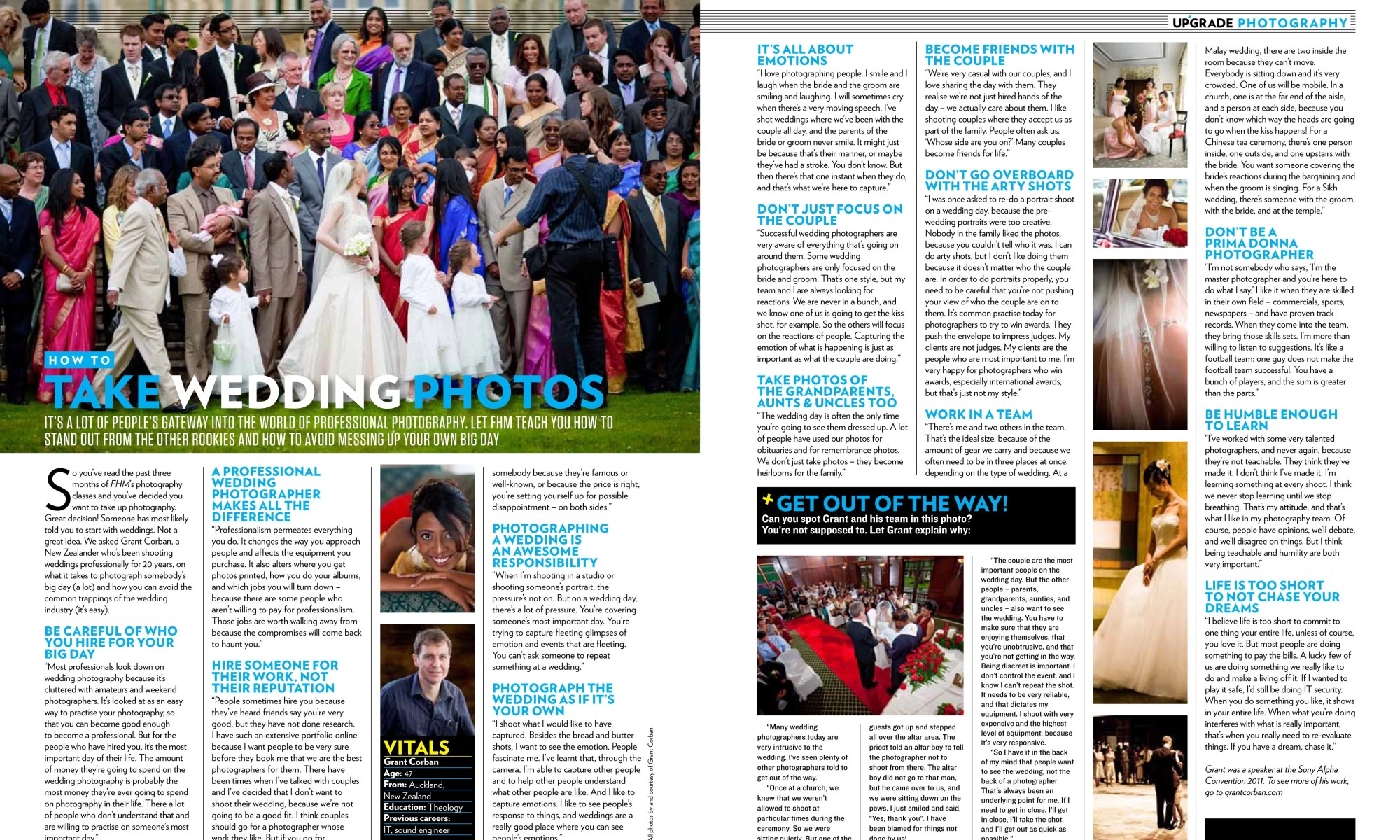 Grant Corban Wedding Photographer featured in FHM