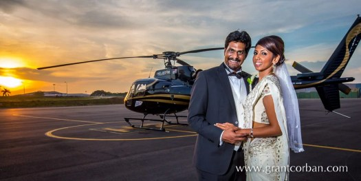 Bride and Groom with Helicopter