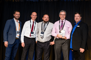 L - R: Scott Hudson, Sales Director at SolarWinds MSP; David Lawrence; Paul Sinclair; Jon Towers and Dave Sobel, Director of Partner Community and Field Marketing