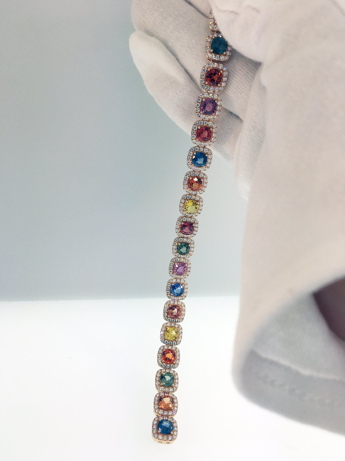 18K Rose Gold And Multi Colored Sapphire Bracelet Grants