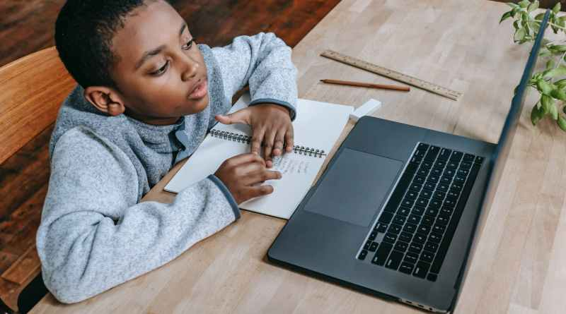 clever diligent black boy learning lessons online with laptop