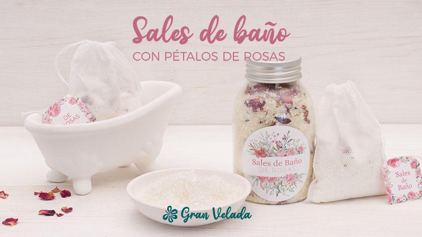 Hacer sales de baño con petalos de rosas