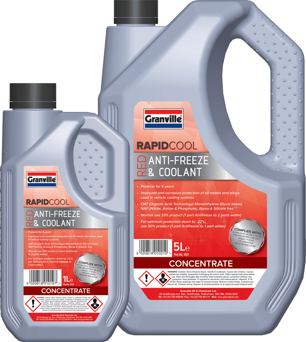medium resolution of granville rapid cool red antifreeze and coolant is an ethylene glycol based engine coolant concentrate which uses organic acid inhibitor technology oat